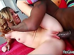 Teen girl Alison Faye blows a black dick