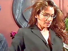 Mature boss lady seduces young secretary to fuck her up