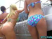 Car washing College lesbians eat each other out