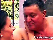 Fat Grandpa enjoying a tight teens pussy outside