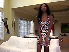 Ebony teen cum sprayed