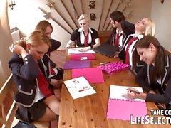 College girls having naughty sex in school