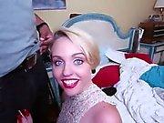 Slutty blondie whore Miley May fucked by big black cock