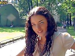Curly teen Leonora loves Risky sex in public