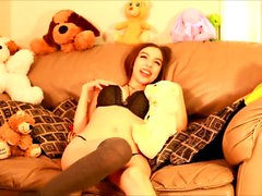 Tasha amateur brunette teen toying her pussy on a chair