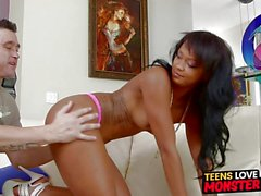Naughty teen ebony babe Harley Dean servicing a long cock