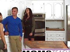 Mother fucks son and tiny Latina girlfriend
