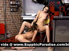 Naughty brunette lesbos fingering and licking pussy and having lesbo sex