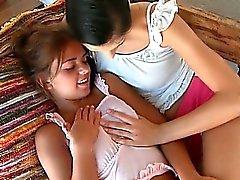 Lesbos Romea and Mia licking tiny boobs