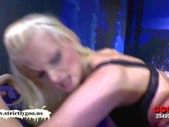 Taking turns on a blonde bukkake whore