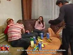 Drunken teen servicing guys at party