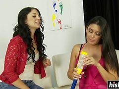 Hot teen and her mom suck cock