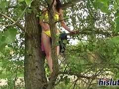 Seductive babe masturbates in a tree