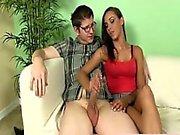 Realsex latina teen tugging his dong