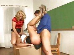 Kathia Nobili teaches a student a threesome lesson