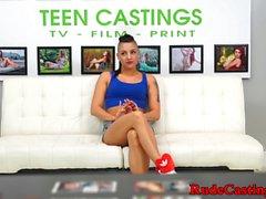 Hardfucked teen beauty filmed at casting