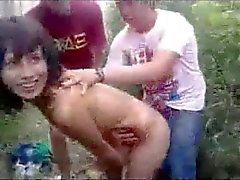 Young Latina Slut Outdoors Group Fun