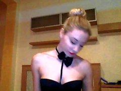 Sexy blonde bitch webcam xxx striptease show