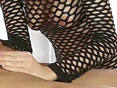 Amanda Tate rubs her client cock