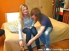 Drunk blondie gets laid