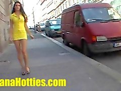 She shows her naked body at the public street
