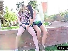 Teen slutty blonde gets twat fisted by lesbo GF
