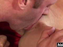 Cute girl gets her shaved cunt banged