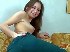 Playful Teen brunette Margarita strips naked
