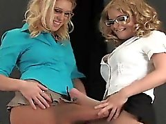 Spicy teens bang the biggest strap-ons and spray ejaculate e