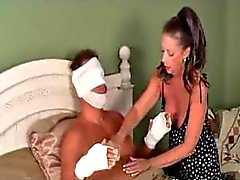 Milf gives young man a towel bath and handjob