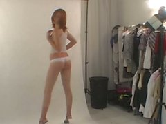 First sexy photoshoot and striptease in backstage