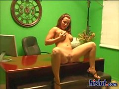 Hot slut sits down on a fat prick