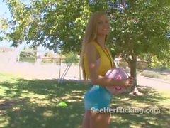 Stunning teen girl shows off her body