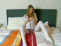 Teenage Gloria pulls off her cotton panties