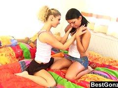 Pigtailed Brunette Lesbian Licks Hot Blonde