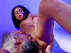 Old man and hot brunette bathroom hardcore