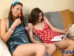 Two sexy babes have some lesbian fun
