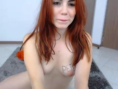 Attractive redhead camgirl displays her sweet boobs and fuc