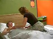 mom gets into bed with NOT her son