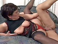 Horny granny fucked hard by a younger cock