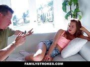 Family Strokes Cute Teen Fucks StepDad To Get P