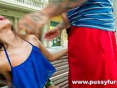 The young Alicia Poz sucks a guy in public and fucks at home