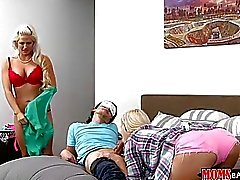 Luscious stepmom and teen shared a cock