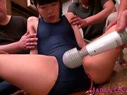 Tiny japanese teen squirting through bodysuit