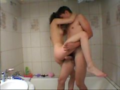 Teen couple kiss and fuck in bathroom