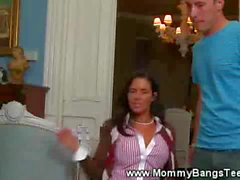 Step mom and teen work on guy and love it