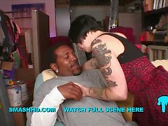tattooed bad ass white chick cant handle shorty mac insane giant black cock