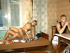 Horny strangers bangs a Russian guys teen girlfriend