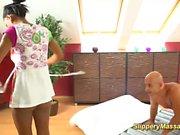 hot chocolade teen gives bigcock nuru massage