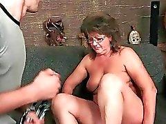 Grandma enjoying hot sex with young man